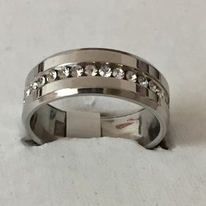 Other - Sz 11 Stainless Steel w/ Clear Gems Ring- New
